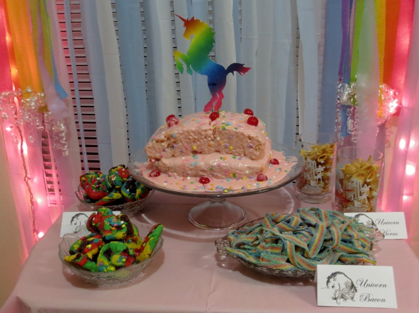 unicorn and rainbow dessert table